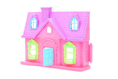 Pink plastic doll house with opened door Royalty Free Stock Photos