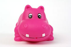 Pink plastic hippopotamus. Toy on white background Royalty Free Stock Photo