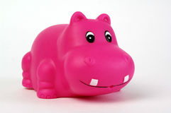Pink plastic hippopotamus. Toy on white background Royalty Free Stock Image
