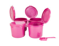Pink plastic joint boxes set with clipping path Royalty Free Stock Image