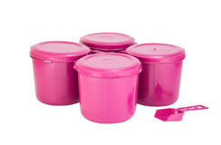 Pink plastic joint boxes set with clipping path Royalty Free Stock Photo