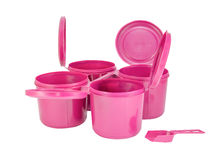 Pink plastic joint boxs set with clipping path Stock Photos