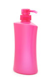 Pink plastic pump cosmetic bottle Stock Photography