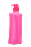 Pink plastic pump cosmetic bottle Royalty Free Stock Image