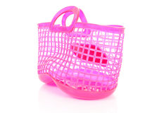 Pink plastic shopping bag with holes Royalty Free Stock Photo