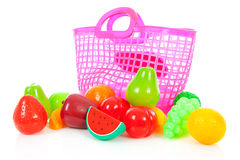 Pink plastic shopping bag with plastic grocery Royalty Free Stock Photos