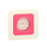 Pink plastic socket isolated. Pink bright plastic socket isolated on white stock photos