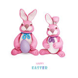 Pink plasticine rabbits Royalty Free Stock Photography