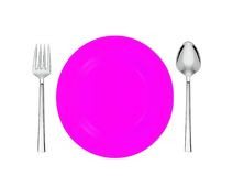 Pink plate, spoon and fork isolated on white background Royalty Free Stock Photography