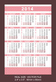 Pink pocket calendar 2014, start on Monday Royalty Free Stock Photos