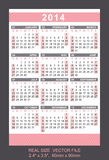 Pink pocket calendar 2014, start on Sunday Royalty Free Stock Images