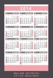 Pink pocket calendar 2014, start on Sunday Royalty Free Stock Images