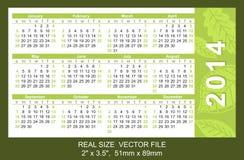 Pink pocket calendar 2014, start on Sunday. Pocket Calendar 2014, vector, start on Sunday Stock Photo