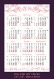 Pink pocket calendar 2014  VECTOR SIZE: 2.4 x 3.5,. Pocket Calendar 2014, vector, start on Monday Royalty Free Stock Images