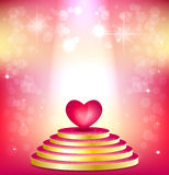Pink podium floodlit and heart on shimmering backg Stock Photo