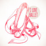 Pink pointe shoes. Beautiful hand-drawn pink pointe shoes with long ribbons Royalty Free Stock Photos