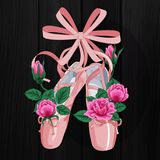Pink pointes female ballet shoes with pink roses flat design on black background. Vector illustration of ballet shoes, web banner Stock Photography