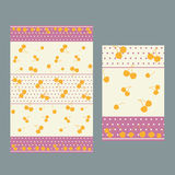 Pink pois and cherries pattern for tablecloth stock images