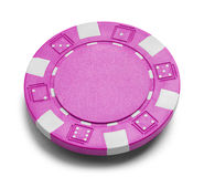 Pink Poker Chip. With Copy Space Isolated on a White Background Stock Photo