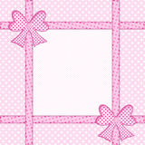 Pink polka dot background with gift bows and ribbons Stock Photo