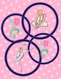 Pink Polka Dot Ballet Dancer Collage Royalty Free Stock Photos