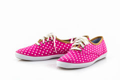Pink polka dot canvas Shoe. Stock Image