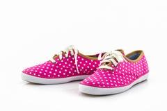 Pink polka dot canvas Shoe. Stock Image
