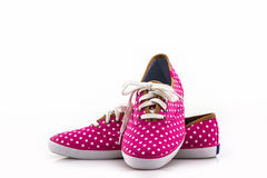 Pink polka dot canvas Shoe. Royalty Free Stock Photo