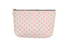 Pink polka dot canvas wallet isolated on white Royalty Free Stock Photos