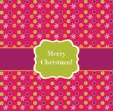 Pink polka dot design frame with snowflakes Royalty Free Stock Photography