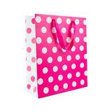 Pink polka dot gift bag. Isolated on white background Stock Images