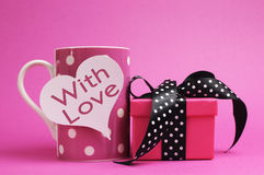 Pink polka dot mug, with heart shape, with love, message and polka dot gift. Royalty Free Stock Photos