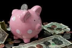 Pink Polka Dot Piggy Bank with Cash. Pink polka dot piggy bank surrounded by cash and coins Royalty Free Stock Photo