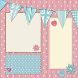 Pink polka dot srapbooking background Stock Images