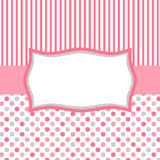 Pink polka dots and stripes invitation card. Square invitation card or tag with polka dots, stripes and a frame for text or image Royalty Free Stock Images