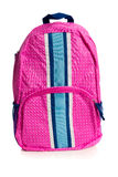 Pink polka dotted backpack on white Stock Photos