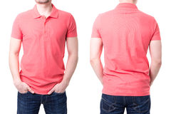 Pink polo shirt on a young man template. On white background Stock Image
