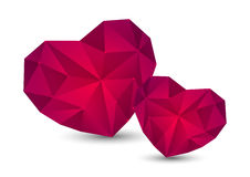 Pink polygon hearts Stock Image