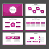 Pink polygon infographic element and icon presentation templates flat design set for brochure flyer leaflet website Stock Photos