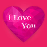 Pink polygonal heart. Happy Valentine`s Day. Vector illustration. Heart. Valentine Day. Polygonal, low poly design on pink background. Geometric, rumpled Stock Photos