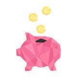 Pink polygonal piggy bank with golden coin Stock Photos