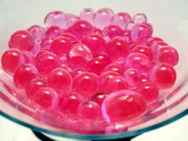 Pink polymer beads Stock Photo