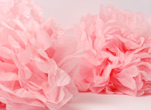 Pink pompoms. Holiday background with paper decor, pom-pom Stock Photos