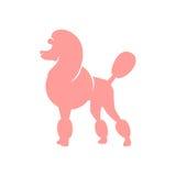 Pink poodle. Silhouette image of poodle dog. vector illustration on a white background stock illustration