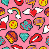 Pink pop art stitch patch seamless pattern. Seamless pattern with pink girl icons in pop art style, emoji, love, and rainbow stitch patches. EPS10 vector Stock Photos
