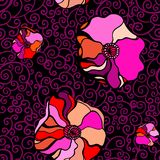 Pink poppies on a black background royalty free illustration