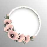 Pink poppies floral round frame, vector Stock Photos