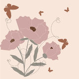 Pink poppy. Retro stylized floral background - pink poppy Royalty Free Illustration