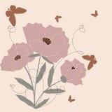 Pink poppy. Retro stylized floral background - pink poppy Royalty Free Stock Photo