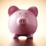 Pink porcelain piggy bank, concept of savings Royalty Free Stock Photo